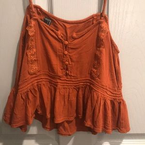 Burnt Orange Crop Top with Lace Accent
